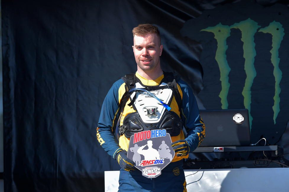 Joe Bromley was awarded the AMSOIL Moto Hero at this weekend's Wild Boar GNCC. Photo: Ken Hill