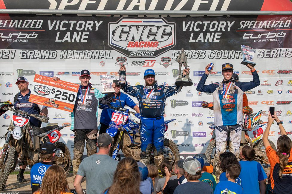 Steward Baylor (center), Ben Kelley (right) and Jordan Ashburn (left) rounded out the top three overall finishers from the Rocky Mountain ATV/MC Mountaineer GNCC. Photo: Ken Hill